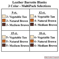 Leather Barrette Blank 3 Color MultiPack Selections - Ohio Leather Company