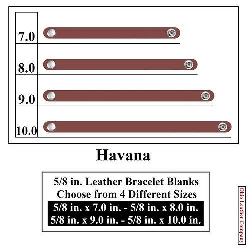 5/8 in. Leather Bracelet Blank Round End 1 Snap HAVANA