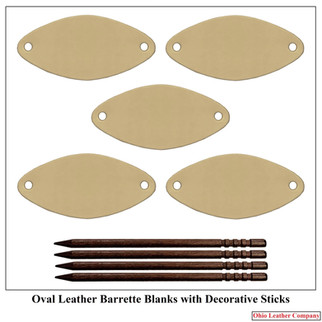 Oval Leather Barrette Blanks with Decora