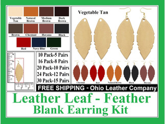 Leather Leaf Earring Blanks , Leather Fe