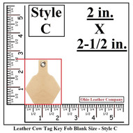 Leather Cow Tag Keychain - Leather Cattle Tag Keychain - Style C - OhioLeatherCompany.com