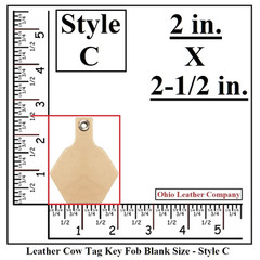 Leather Cow Tag Key Fob Blank Work Space Size - Leather Cattle Tag Key Fob Blank Work Space Size - Style C - OhioLeatherCompany.com