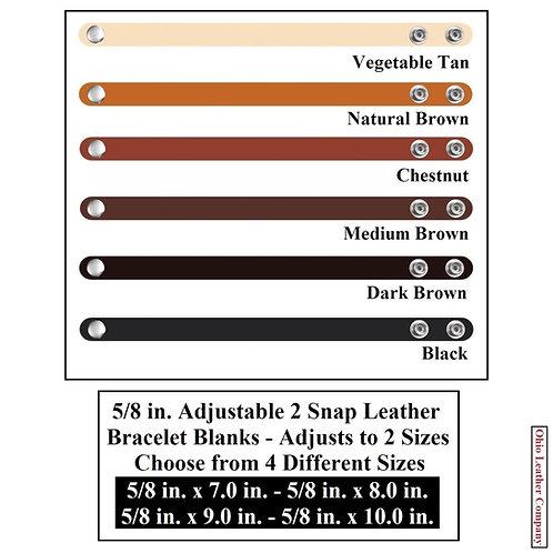 6 Color - Multi Pack-5/8 in. Adjustable Leather Bracelet Blank 2 Snaps