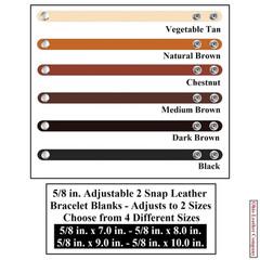 5/8 in. Adjustable 2 Snap Leather Bracelet Blanks - Adjusts to 2 Sizes - OhioLeatherCompany.com -2