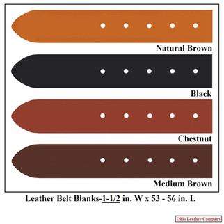 Leather Belt Blanks 1-1/2 in. x 53 - 56 in. - OhioLeatherCompany.com