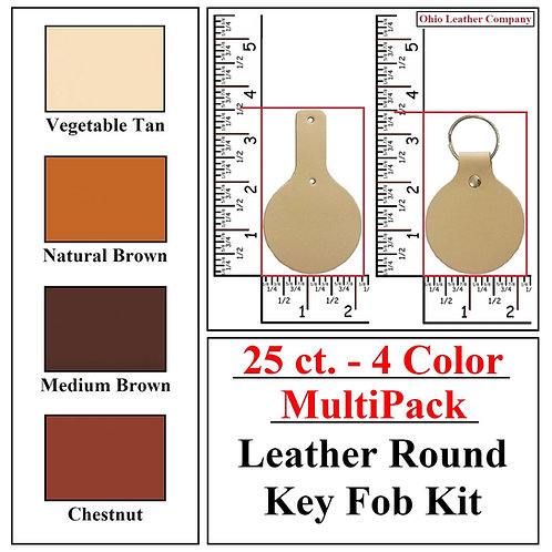 25 ct. - 4 Color - MultiPack - Leather Round Key Fob Kit