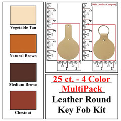25 ct.- 4 Color MultiPack Leather Round Key Fob Kit - OhioLeatherCompany