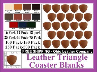 Leather Coaster - Leather Triangle Shape