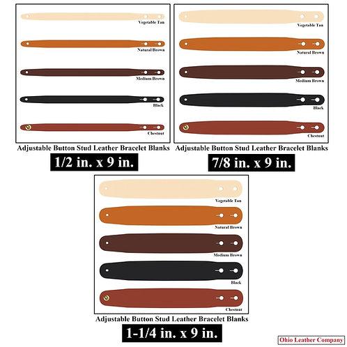 6 Color - MultiPack - Adjustable Button Stud Leather Bracelet Blank