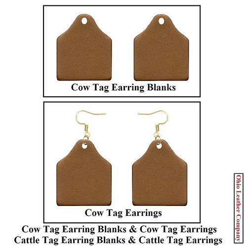 Leather Cow Tag Earring Blank Kit
