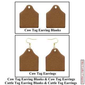 Leather Cow Tag Earrings - Leather Cattle Tag Earrings - OhioLeatherCompany.com