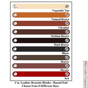 1 in. Leather Bracelet Blanks Round End - Choose from 8 Sizes & 8 Colors - Ohio Leather Company