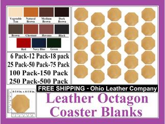 Leather Coaster - Leather Octagon Coaste