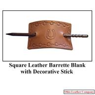 Square Leather Barrette Blank with Decorative Stick - OhioLeatherCompany.com 01
