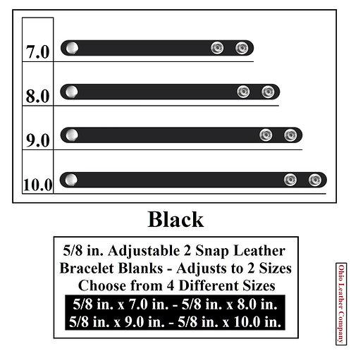 5/8 in. Adjustable Leather Bracelet Blank 2 Snaps BLACK