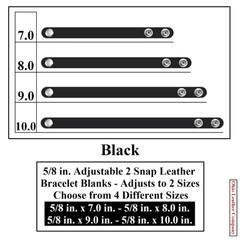 5/8 in. Adjustable 2 Snap Leather Bracelet Blanks - Adjusts to 2 Sizes - Black - OhioLeatherCompany.com