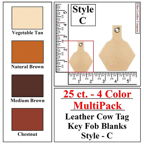 25 ct. - 4 Color - MultiPack - Leather Cow Tag Key Fob Blanks - Style C