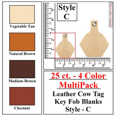 25 ct.- 4 Color MultiPack Leather Cow Tag Key Fob Blank - Style C - OhioLeatherCompany