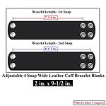 2 in. x 9-1/2 in. - Adjustable 2 Snap Leather Braclet Blanks - Adjusts to 2 Sizes - Sizes - Ohio Leather Company