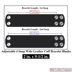 2 in. x 9-1/2 in. Adjustable 4 Snap Leather Bracelet Blanks - Adjusts to 2 Sizes - OhioLeatherCompany.com -1