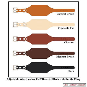 Adjustable Wide Leather Cuff Bracelet Blanks with Buckle - Ohio Leather Company