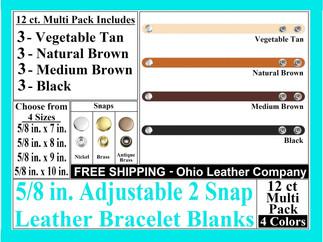 Bracelet Blanks - Adjustable 2 Snap Leat