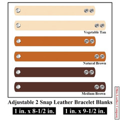 1 in. x 8-1/2 in - 1 in. x 9-1/2 in. Adjustable 2 Snap Leather Bracelet Blanks - Adjusts to 2 Sizes - OhioLeatherCompany.com -1