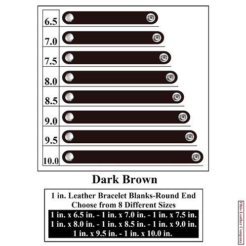 1 in. Leather Bracelet Blank Round End 1 Snap DARK BROWN