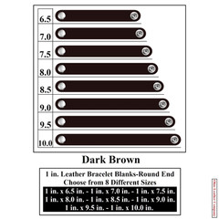 1 in. Leather Bracelet Blanks - Round End - Dark Brown - OhioLeatherCompany.com