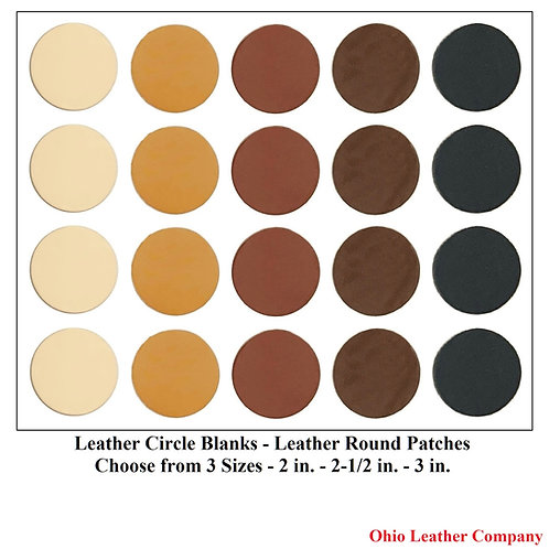 Leather Round Blanks - 2 in. - 2-1/2 in. -3 in. - Leather Round Patches