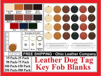 Leather Dog Tag Key Fob Blank - Ohio Leather Company.com