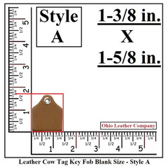 Leather Cow Tag Key Fob Blank Size - Leather Cattle Tag Key Fob Blank Size - Style A - OhioLeatherCompany.com