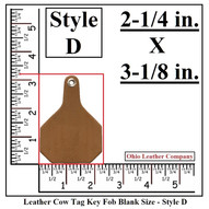 Leather Cow Tag Keychain - Leather Cattle Tag Keychain - Style D - OhioLeatherCompany.com