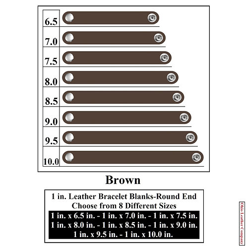 1 in. Leather Bracelet Blank Round End 1 Snap BROWN
