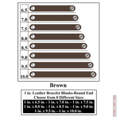 1 in. Leather Bracelet Blanks - Round End - Brown - OhioLeatherCompany.com