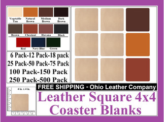 Leather Coaster - Leather Square 4x4  Co