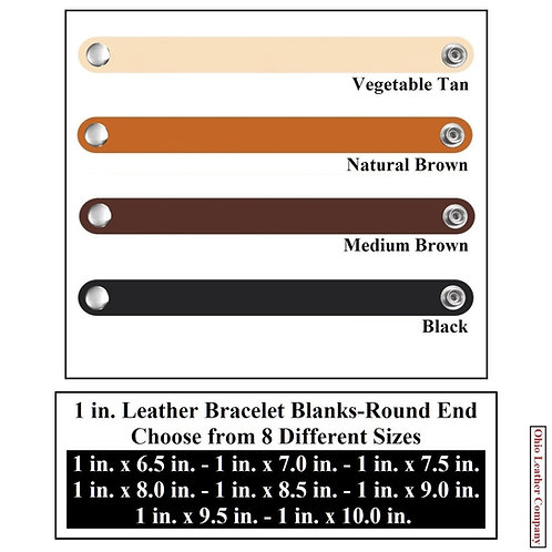 4 Color - MultiPack - 1 in. Leather Bracelet Blank Round End