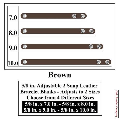 5/8 in. Adjustable Leather Bracelet Blank 2 Snaps BROWN