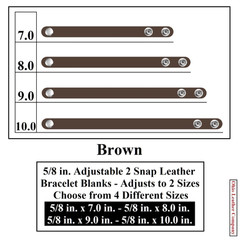 5/8 in. Adjustable 2 Snap Leather Bracelet Blanks - Adjusts to 2 Sizes - Brown - OhioLeatherCompany.com