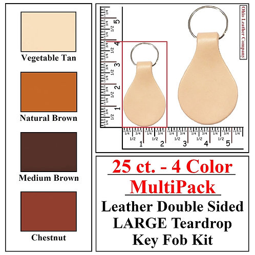 25 ct. - 4 Color - MultiPack - Leather Double Sided LARGE Key Fob Kit