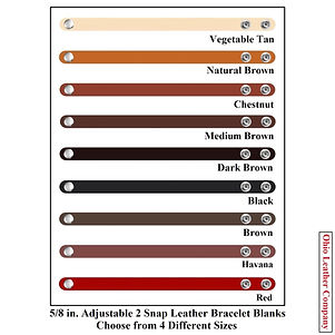 5/8 in. Adjustable 2 Snap Leather Bracelet Blanks - Choose from 4 Sizes - Ohio Leather Company