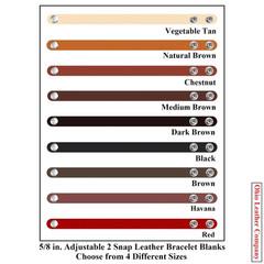 5/8 in. Adjustable 2 Snap Leather Bracelet Blanks - Adjusts to 2 Sizes - OhioLeatherCompany.com -1