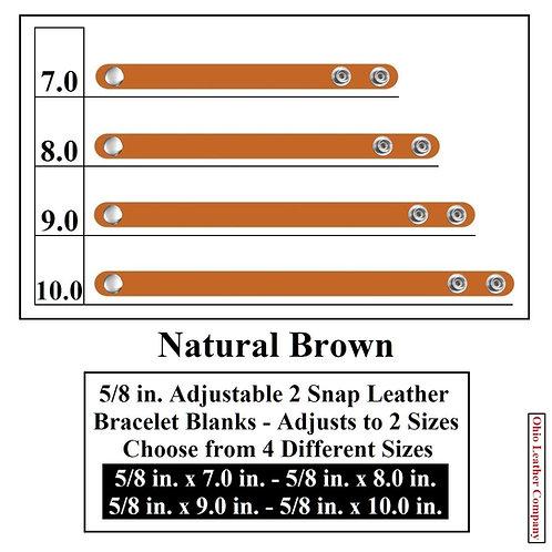 5/8 in. Adjustable Leather Bracelet Blank 2 Snaps NATURAL BROWN