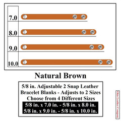 5/8 in. Adjustable 2 Snap Leather Bracelet Blanks - Adjusts to 2 Sizes - Natural Brown - OhioLeatherCompany.com