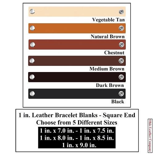 6 Color - MultiPack - 1 in. Leather Bracelet Blank Square End