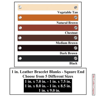 1 in. Leather Bracelet Blanks Square End - 6 Color MultiPack - OhioLeatherCompany.com