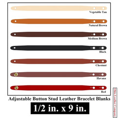 Adjustable Buttton Stud Leather Bracelet Blanks - 3 Sizes to choose from - Adjusts to 2 Sizes - OhioLeatherCompany.com -3