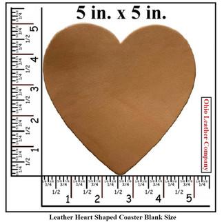 Leather Heart Coaster Blank Size - OhioLeatherCompany.com