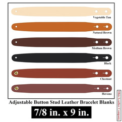 Adjustable Buttton Stud Leather Bracelet Blanks - 7/8 in. x 9 in. - OhioLeatherCompany.com -2
