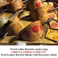 Oval Leather Barrette Blank with Decorative Stick - OhioLeatherCompany.com 01-